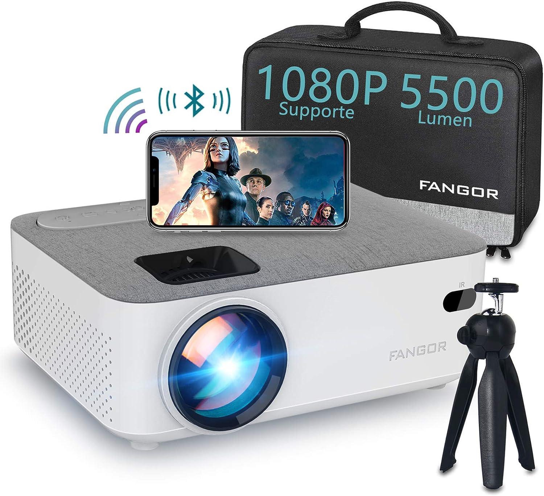 FANGOR - Mini proyector wifi con Bluetooth, retroproyector, 4500 lúmenes, portátil, proyector de vídeo, compatible con smartphone, TV Box, PS4, Teléfono, Chromecast, proyector de cine en casa: Amazon.es: Electrónica