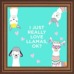 JEEM Llama Gifts |7x7 Tile Artwork Perfect for Llamas Lover | Llama Gift for Teens & Kids| Alpaca Decorations for Girls Room | Special Art Print for Home Decor