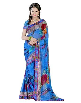 a6c828c4d0 Georgette Blue Indian Design Women Sari Saree With Unstitched Blouse Piece  Dress: Amazon.co.uk: Clothing