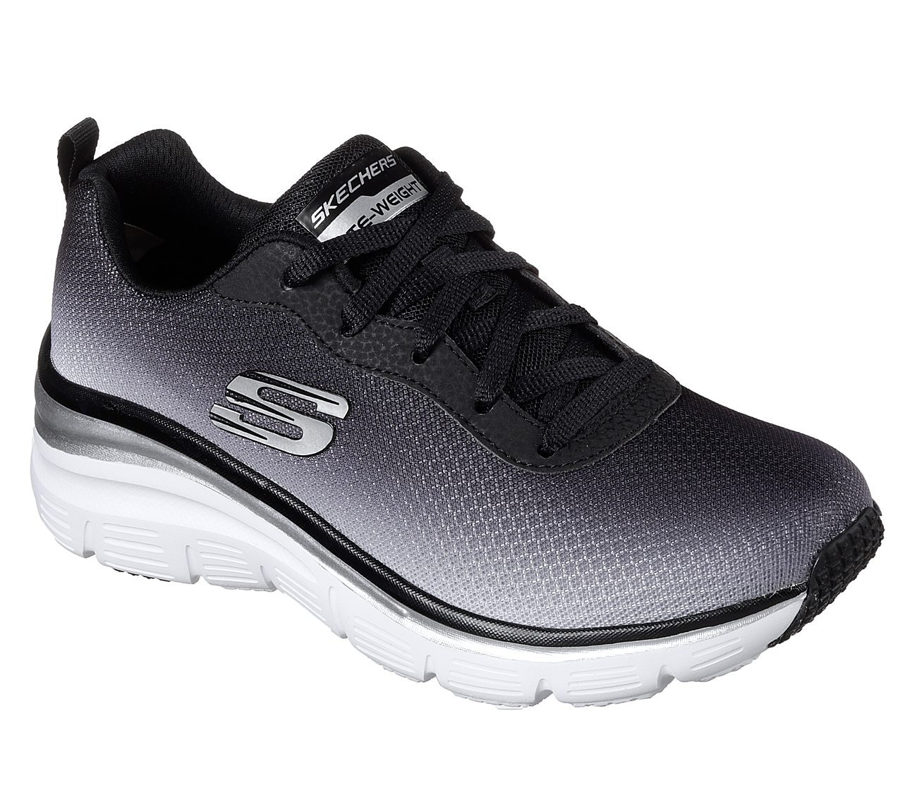 Skechers Fashion Fit Build up Womens Sneakers Black/White 7.5