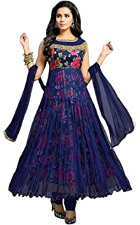 Drashti Villa Women s Bangalory Silk Printed and Net Anarkali Gown (Free  size) 1e5beb53f