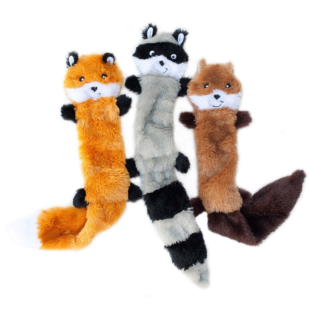 zippypaws skinny peltz dog toys, raccoon, fox and squirrel