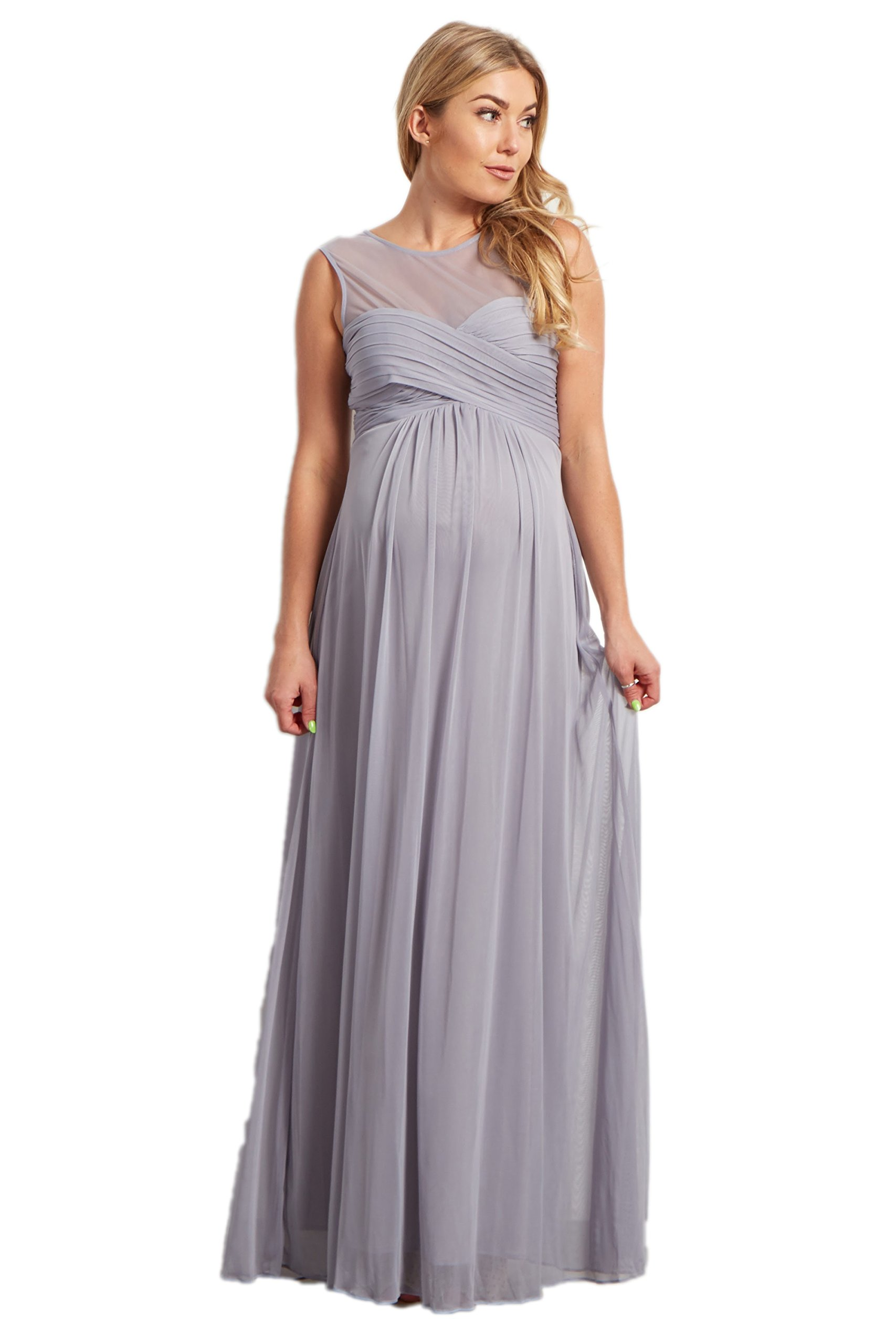 PinkBlush Maternity Grey Mesh Neckline Ruched Bust Maternity Evening Gown, XL