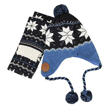 YJZQ Bonnet Péruvien Enfant Snood Bébé 2 Lots Bonnet et Echarpe Ensemble  Capuche Protection des oreillers 7b02fede557