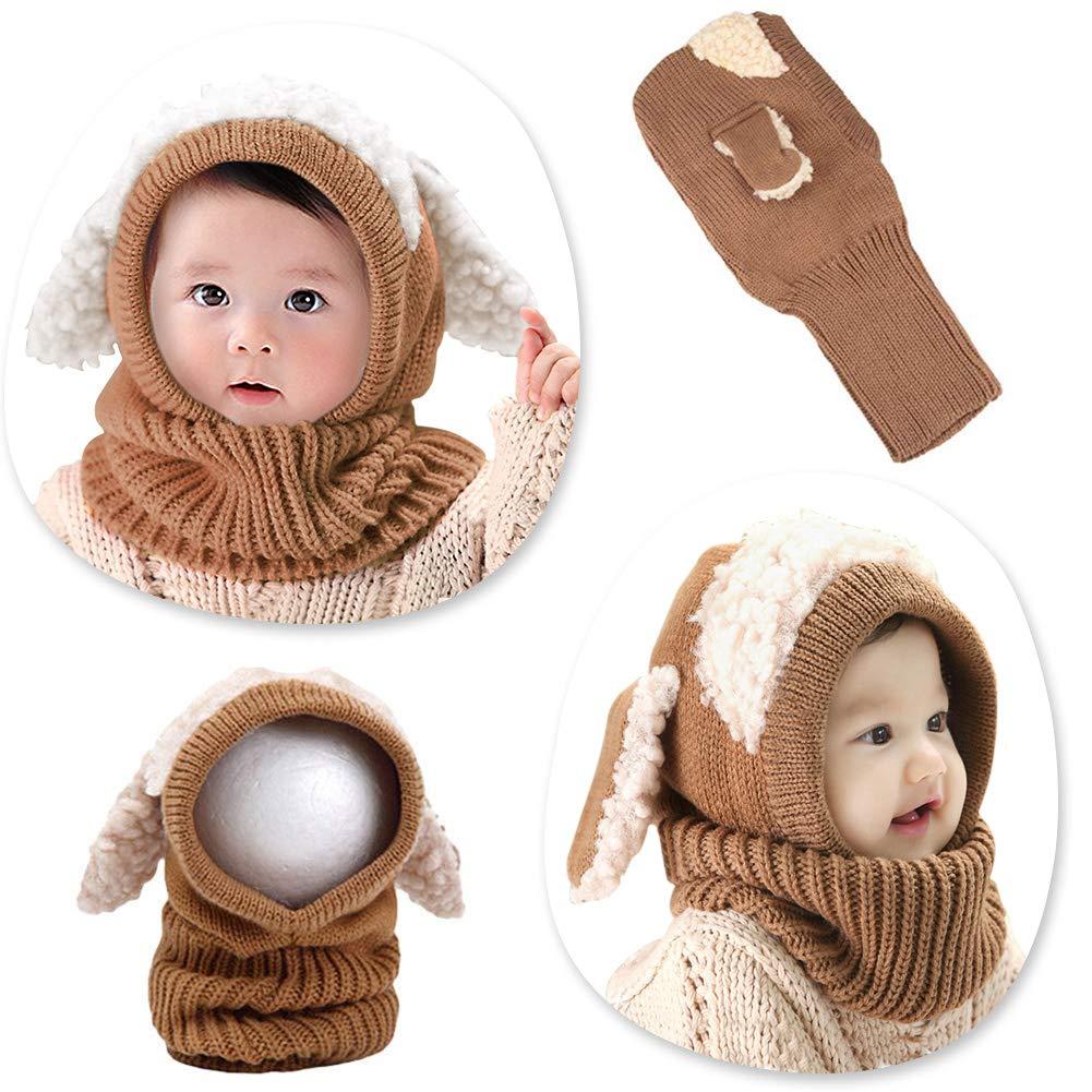 Toddler Hat Scarf Set Warm Winter Hats Boy Girls Children Knitted Cap 1-3Y