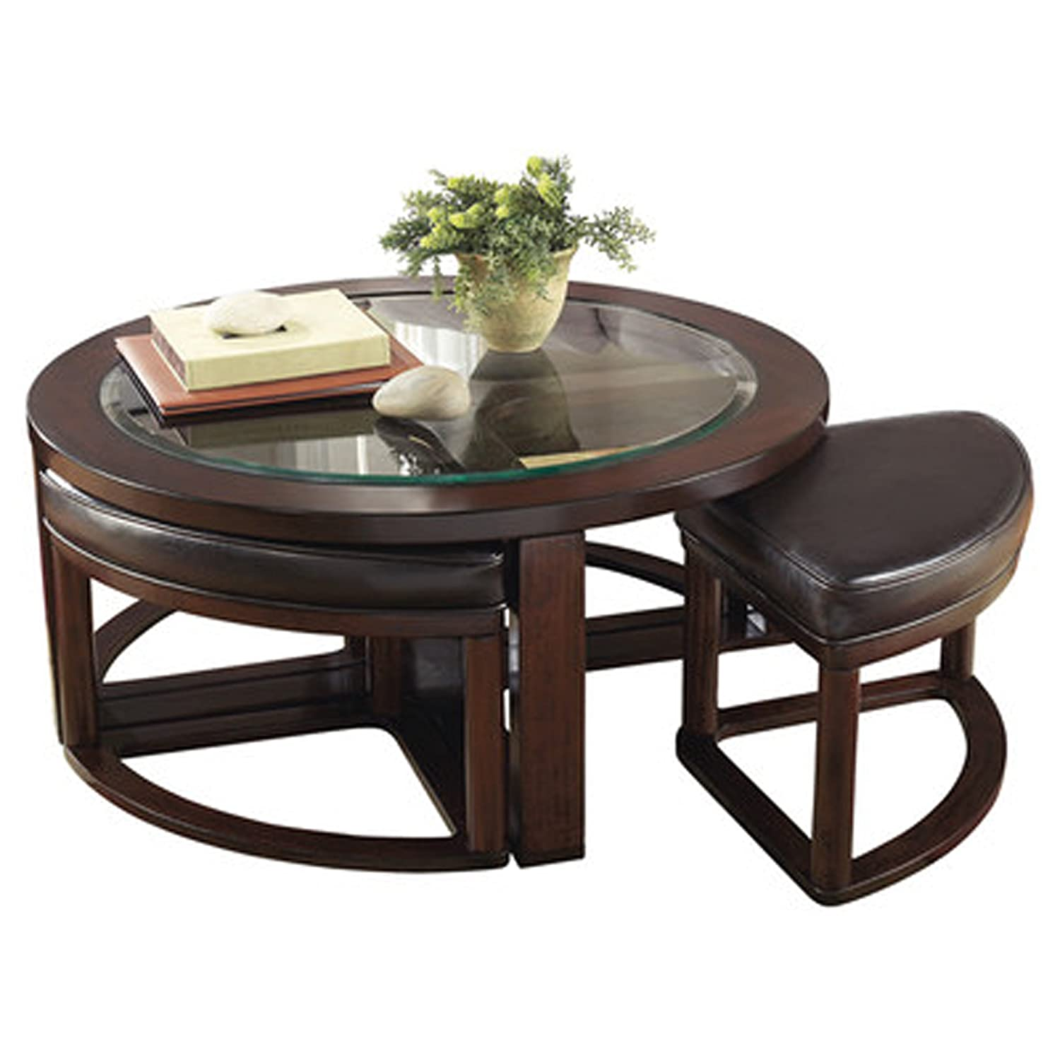 Amazon Thornburgh 5 Piece Coffee Table & Stool Set Dark Brown