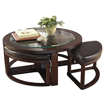Thornburgh 5 Piece Coffee Table U0026 Stool Set Dark Brown Finish Durable  Hardwood Solids Metal Drop