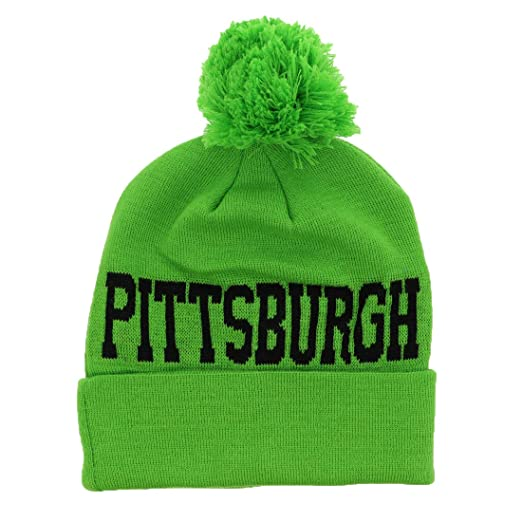 Motique Accessories Pittsburgh Beenie City Winter Knitted Pom Pom Beanie Hat  - Neon Green at Amazon Women s Clothing store  71c1bcbde8