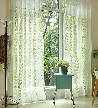 Seite Bside Landhaus Stil Fenster Behandlungen Sheer Vorhänge, Bestickt  Transparent Vine Rod Pocket Für Wohnzimmer