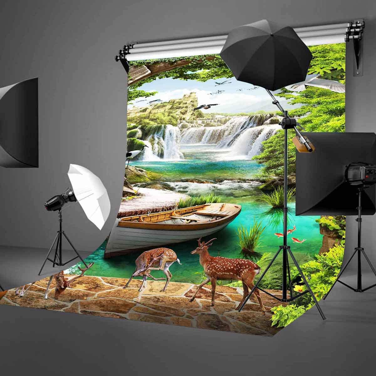 LYLYCTY 5x7ft Natural Beauty Backdrop White Crane Plum Blossom Deer Mountain Waterfall Waterfall Fairyland Photography Backdrop Photo Photography Background Props Studio Indoor Decorations LYNAN452