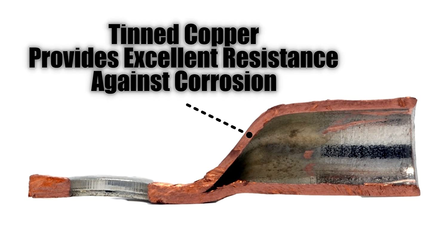 Tinned Copper Marine Battery Welding Lug Terminal Connectors With Wiring Dual Wall Adhesive Heat Shrink 6