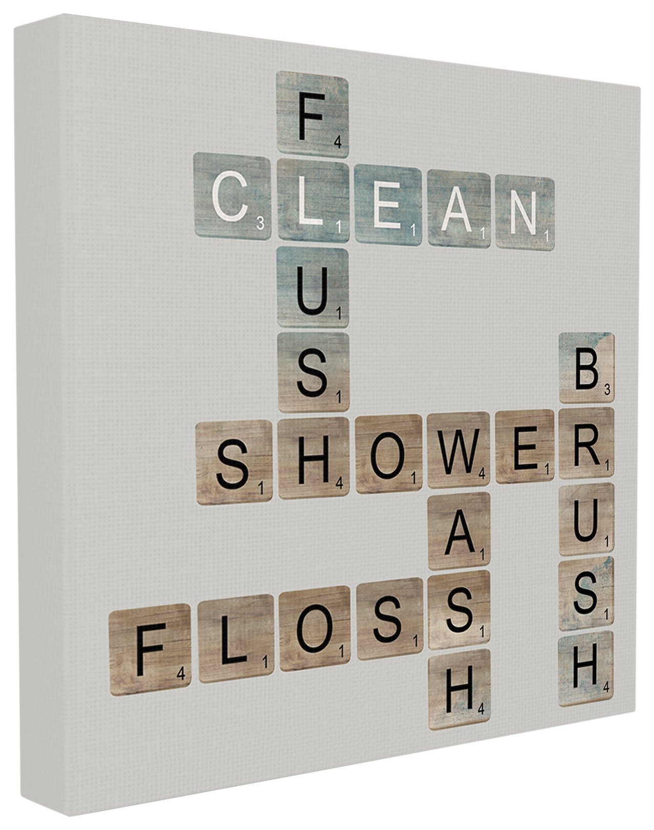 The Stupell Home Decor Collection Scrabble Bathroom Illustration Stretched Canvas Wall Art, 17 x 17