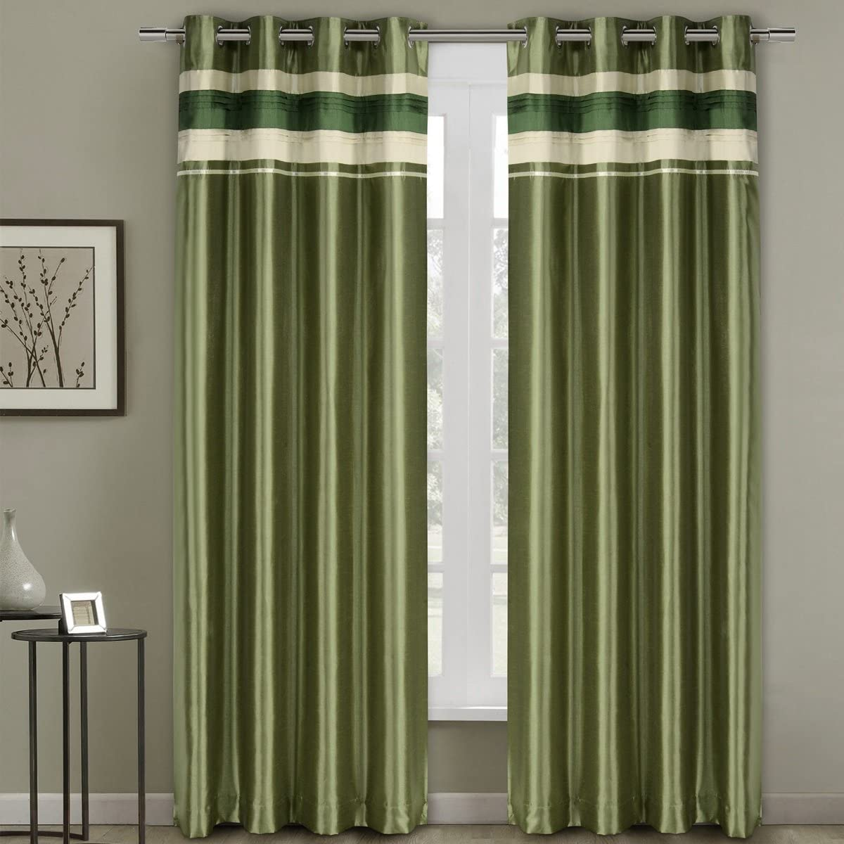 Royal Hotel Milan Sage Top Grommets Blackout Multiple Layers Fabric, Window Curtain Panels, 54×108 inches Single Panel