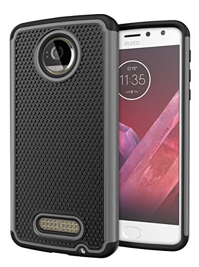 new style 0b252 8087e Moto Z2 Play Case, Cimo [Shockproof] Heavy Duty Shock Absorbing Hybrid  Protection Cover for Motorola Moto Z2 Play - Gray