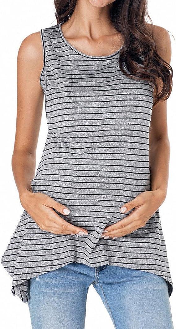 Challyhope Womens Pregnant Short Sleeve Stripe Crew Neck Casual Maternity Nursing Dress for Breastfeeding