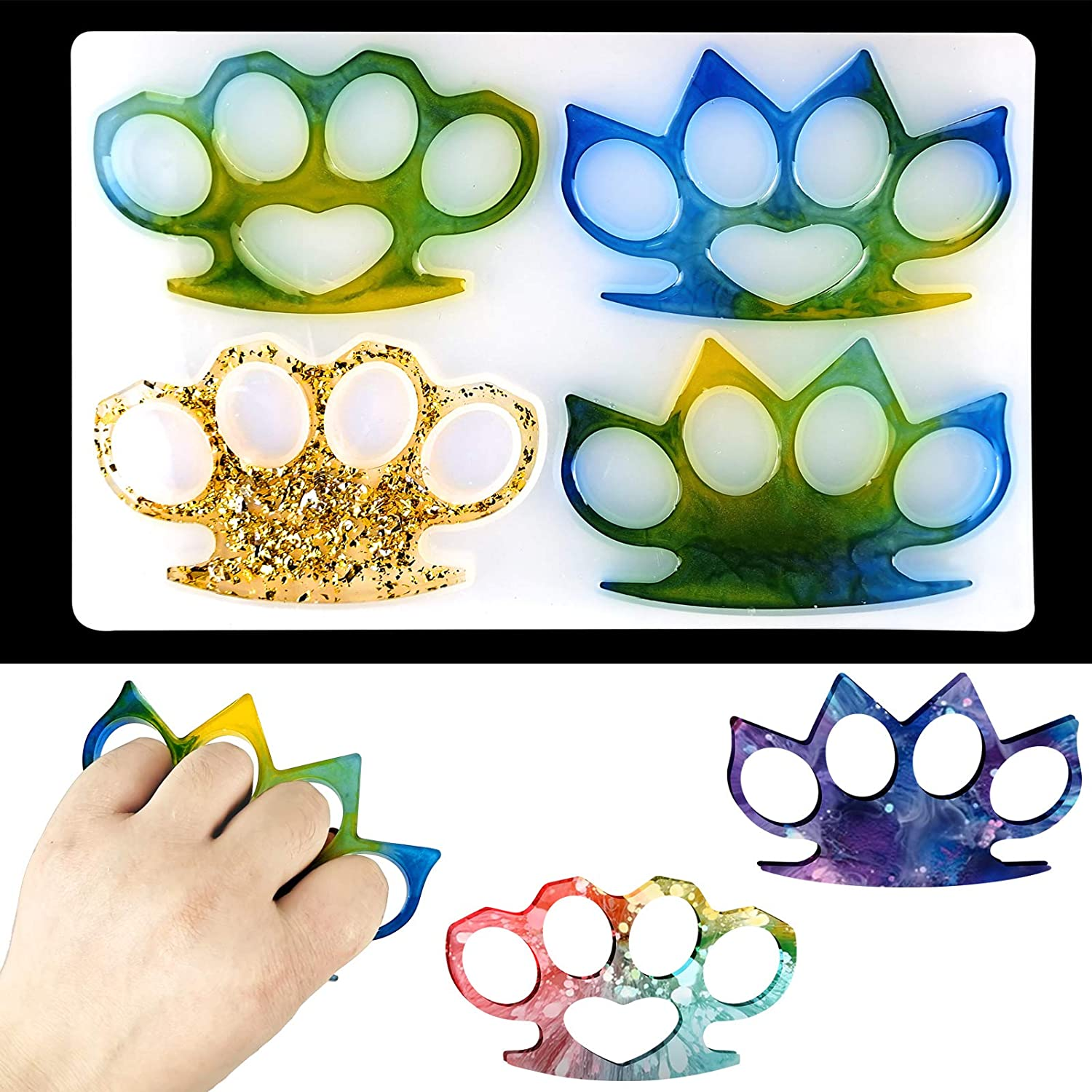 Knuckles Silicone Mold 4 Brass Knuckles Shape Resin Molds with Hole Reusable DIY Craft Epoxy Resin Mold for Jewelry Making Key Chain Handmade Gift Decoration