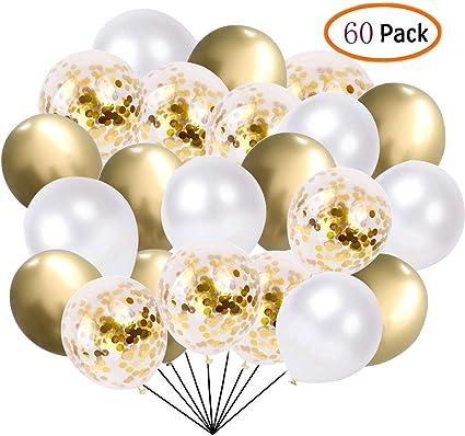 Amazon.com: Paquete de 60 globos de confeti de color blanco ...