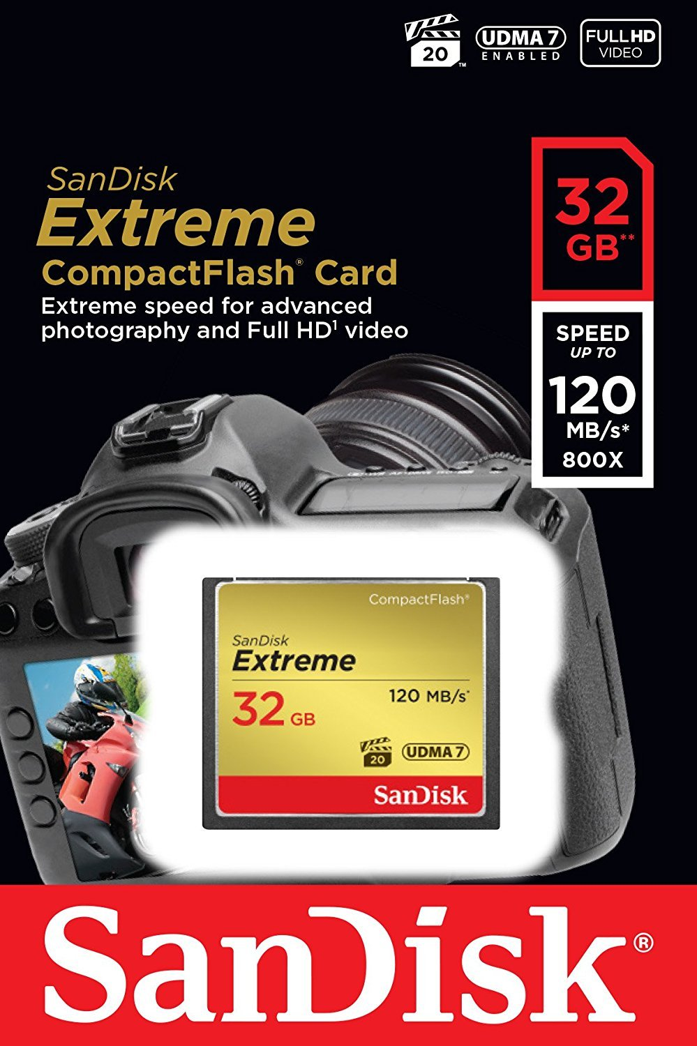 SanDisk Extreme 32GB CompactFlash Memory Card works with Canon EOS 7D Mark II Digital DSLR Camera HD UDMA 7 (SDCFXSB… 2 Bundle includes (x1) 32GB CF Extreme SanDisk, (x1) Everything But Stromboli Microfiber Cloth, (x1) Combo Memory Card Reader (Color May Vary) - Includes CF, SD, Micro SD, M2, and MS, MSPD slots for easy transfer Compatible with Canon EOS 7D Mark II Digital DSLR Camera Professional-Grade Video Capture - VPG-20 ensures sustained data recording rate of 20MB/s for a smooth and unbroken video stream