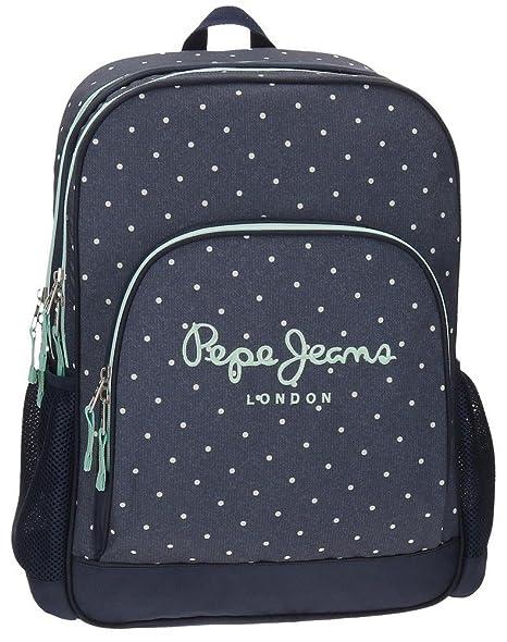 Pepe Jeans Denim Dots Mochila Escolar, 45 cm, 21.6 litros, Azul