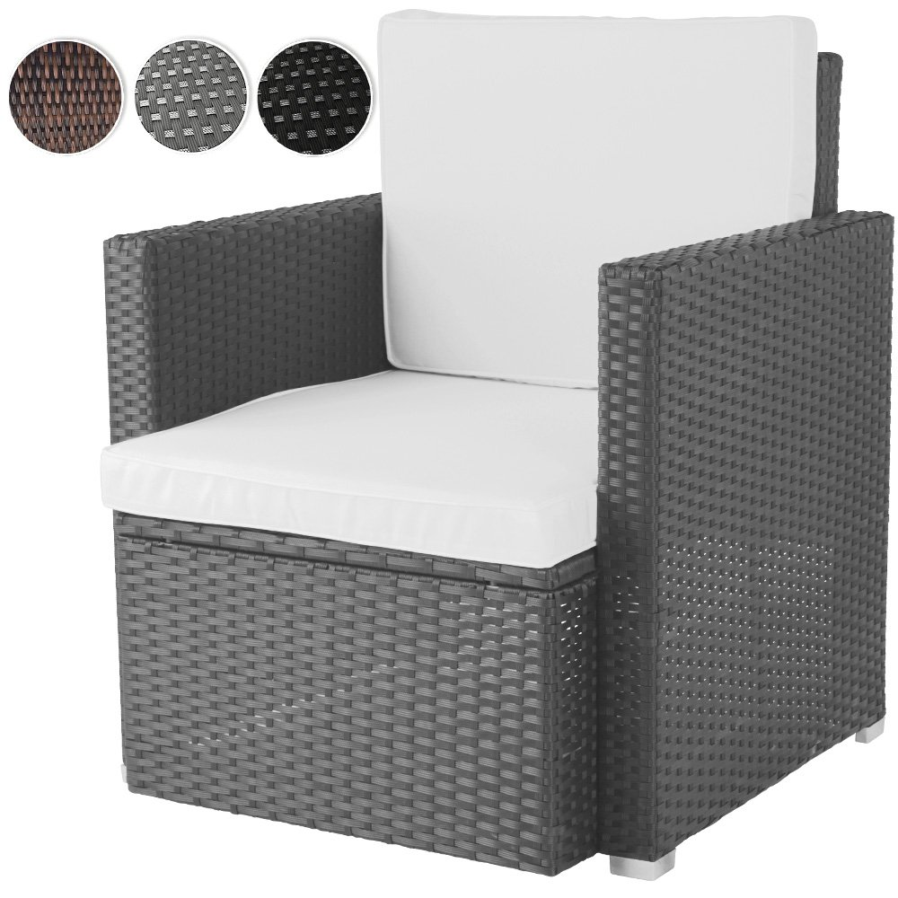 Miadomodo® Polyrattan Lounge Chair Garden Armchair incl. Seat Cushions Outdoor Furniture (Grey)