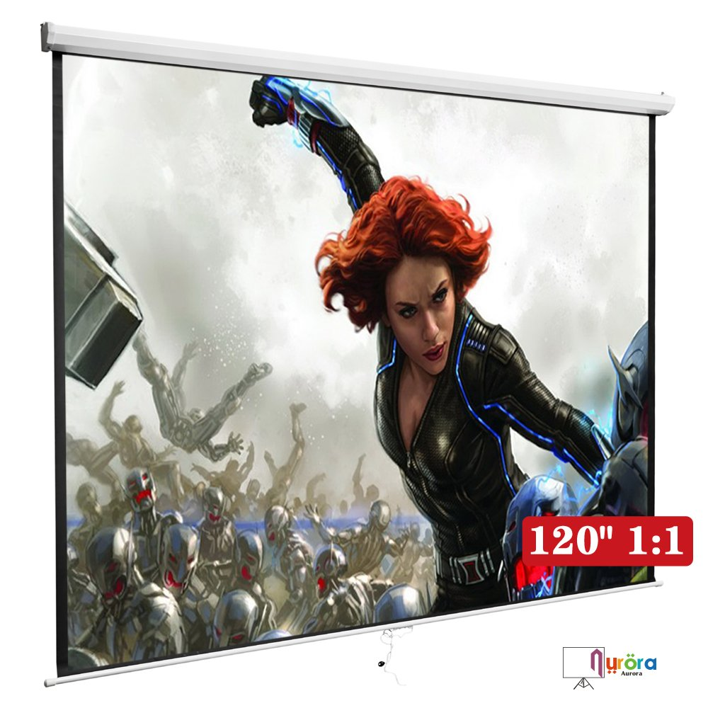 DFM 120'' 1:1 Manual Pull Down Projection Screen Home HD Movie ,White by DFM