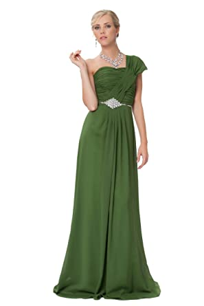 Elegant Roman Style One Shoulder Ruched Long Evening Bridesmaids