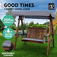 Gardeon Outdoor Swing Chair Garden Hanging Chair Wooden Bench Outdoor Furniture with Canopy and Removable Cushion-Charcoal