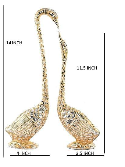 JaipurCrafts Pair of Kissing Duck Showpiece   White Metal Silver Plated Pair of Swan Statue Showpiece   Vastu Decorative Figurine(Gold- 14 in)