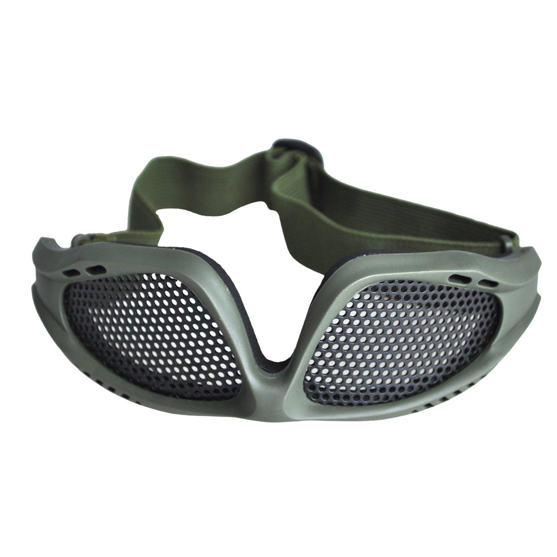 Cikuso R Tir Tactique Airsoft Chasse Sable Maille Metallique Lunettes Lunettes Armee Vert