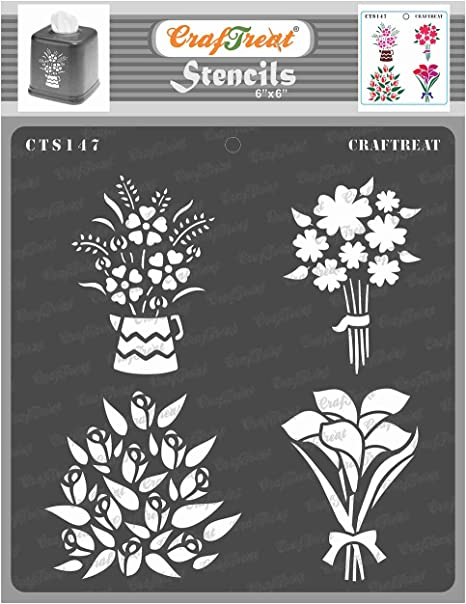 Flower Center Fabric Canvas CrafTreat Layered Flower Stencils for Painting on Wood Paper 6x6 Inches Wall and Tile Reusable DIY Art and Craft Stencils for Painting Flowers Floor