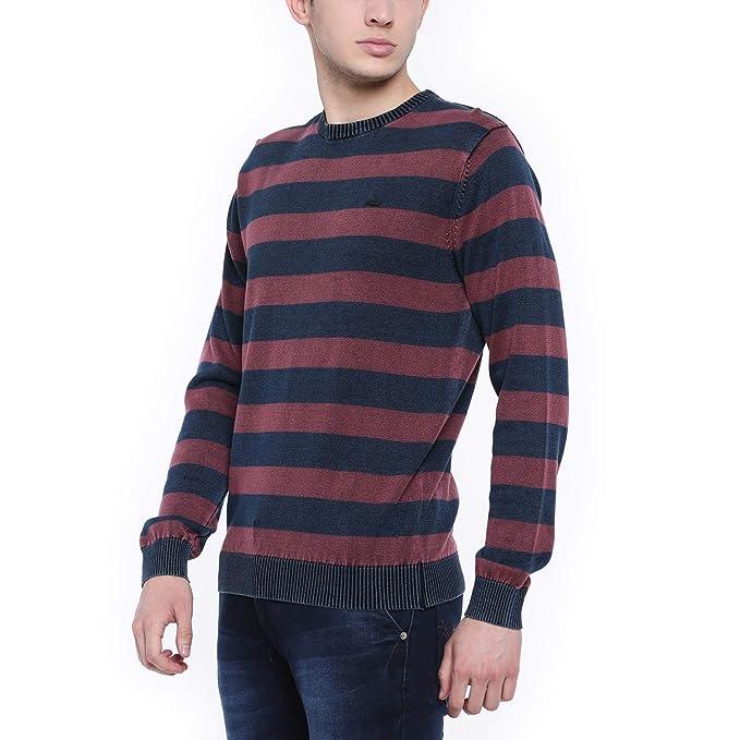 t base Blue & Maroon Stripe Sweater Sweater for Mens