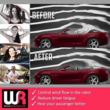 "Laser Etched /""Camaro SS/"" Design Red LED Illumination Windrestrictor Wind Deflector for Chevrolet Camaro 5th Gen Convertibles 2011-2015