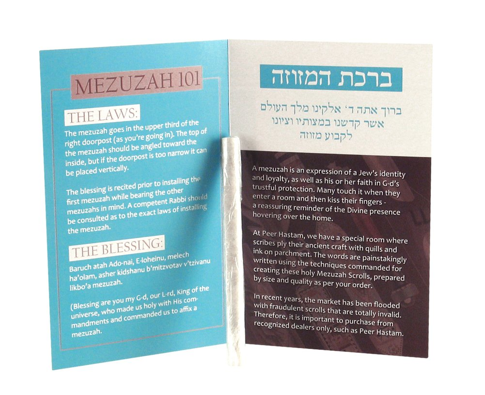 Peer Hastam Mezuzah Scroll Sephardi Version from Israel, 100% Kosher with Certificate - Size 2.8''