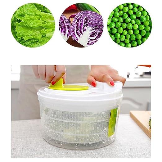 Baiwka Spinner De Ensalada Manual Verduras de Gran Capacidad Lavadora Secadora Segura BPA Material Libre Diseño de Secado rápido Sistema de Drenaje de ...