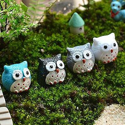 N/ hfjeigbeujfg Miniature Fairy Garden 2Pcs Lovely Owl Miniature Landscape Bonsai Decoration Resin Crafts Ornament - Random Color : Garden & Outdoor