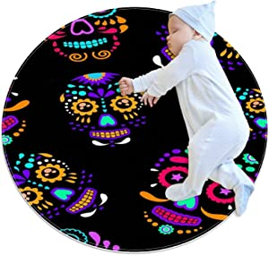 Area Rugs for Bedroom, Ultra-Luxurious Soft and Thick Non-Slip Carpet for Kids Baby Room, Nursery Modern Decor Rug 2.3Ft, Colorful Sugar Skull with Floral