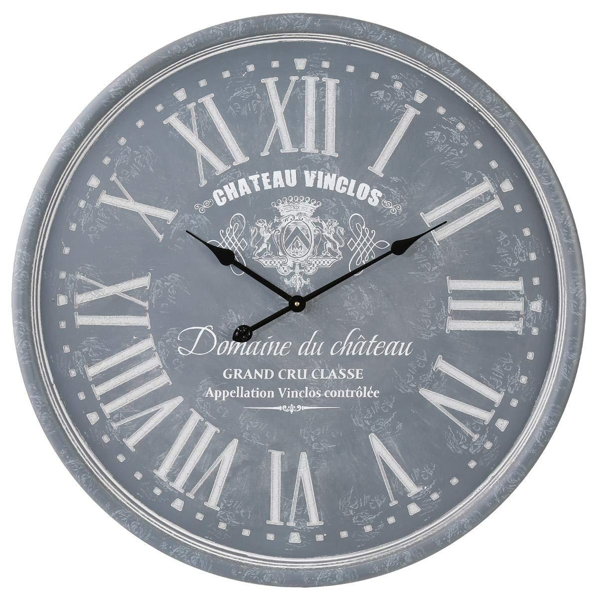 Pendule grav/é gris /Ø52 x 5,5 cm d/épaisseur