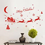 Kingko® Christmas Decorations Vinyl Wall Window Stickers Santa Claus Gift Reindeer Xmas Decor (Red)