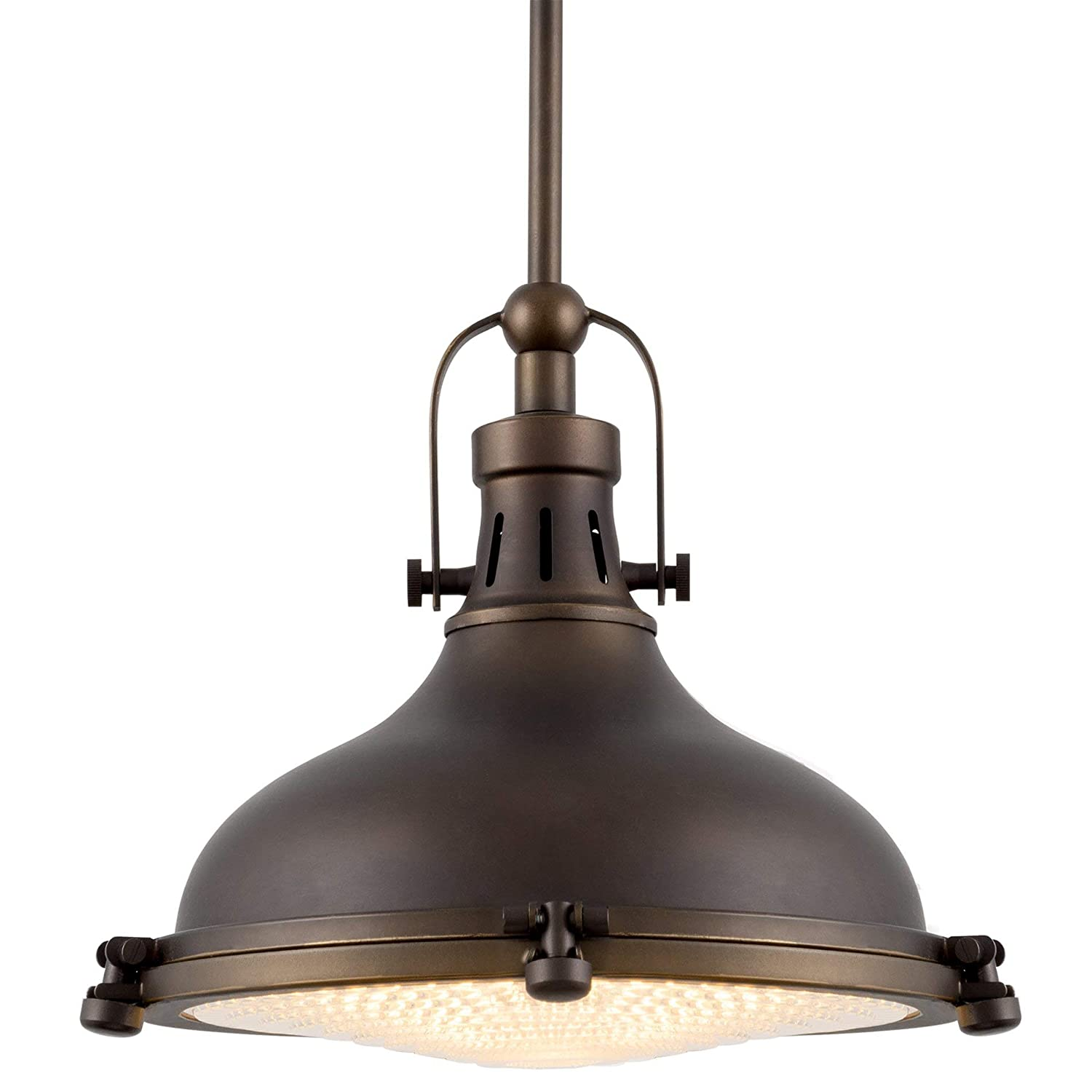 "Kira Home Beacon 11"" Industrial Farmhouse Pendant Light with Round Fresnel Glass Lens, Adjustable Hanging Height, Oil-Rubbed Bronze Finish"