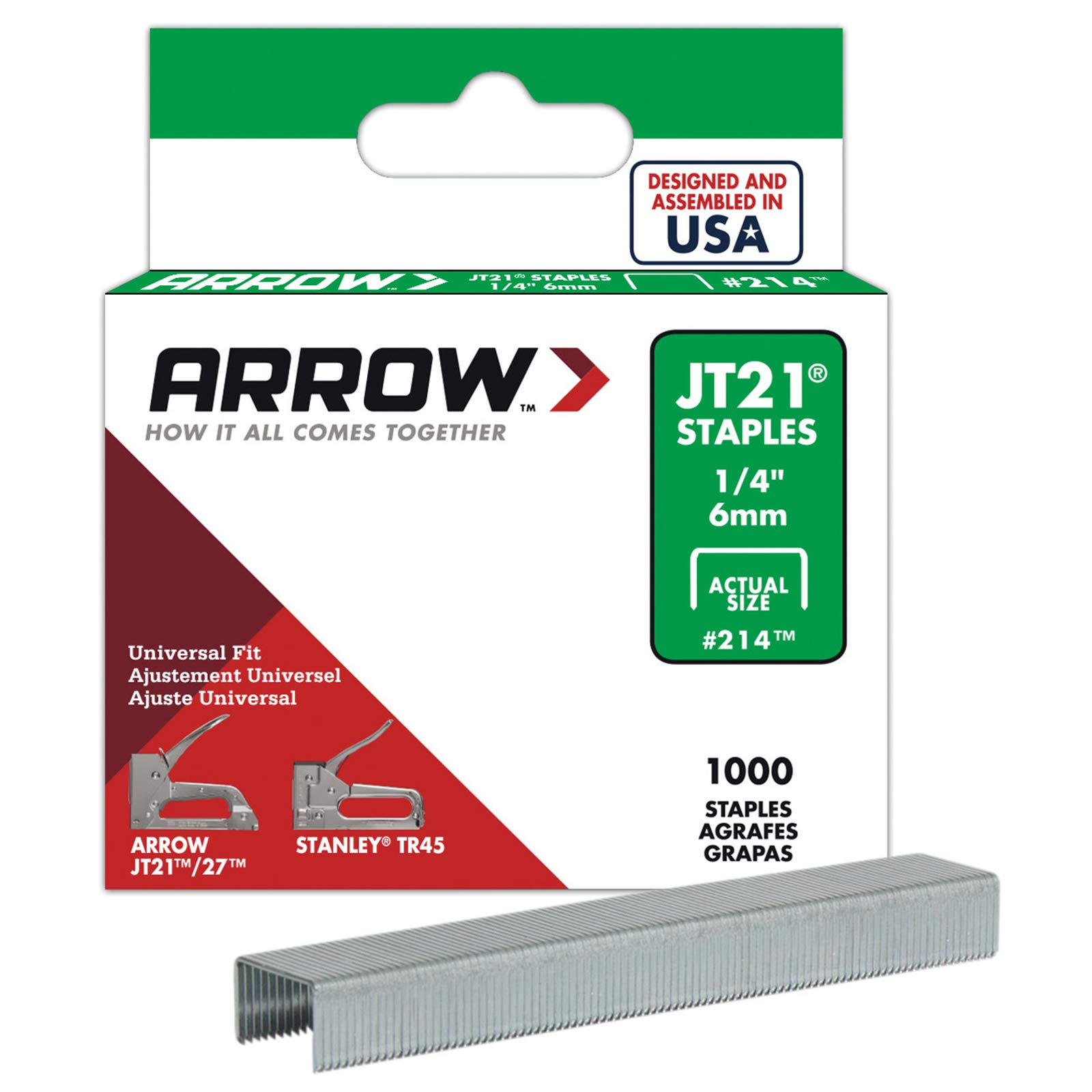 Arrow Fastener 214 Genuine JT21 1/4-Inch Staples, 1,000-Staples