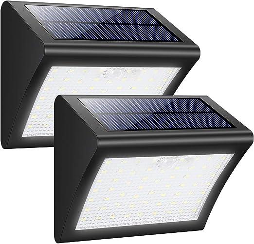 VOVOVO Foco Solar Exterior 38 Leds Luz Solar Jardín,Luces Sensor de Movimiento Impermeable Seguridad Luces Solares 3 Modos Inteligente Luz Potente Brillante Blanca para Jardín(2 Piezas): Amazon.es: Hogar