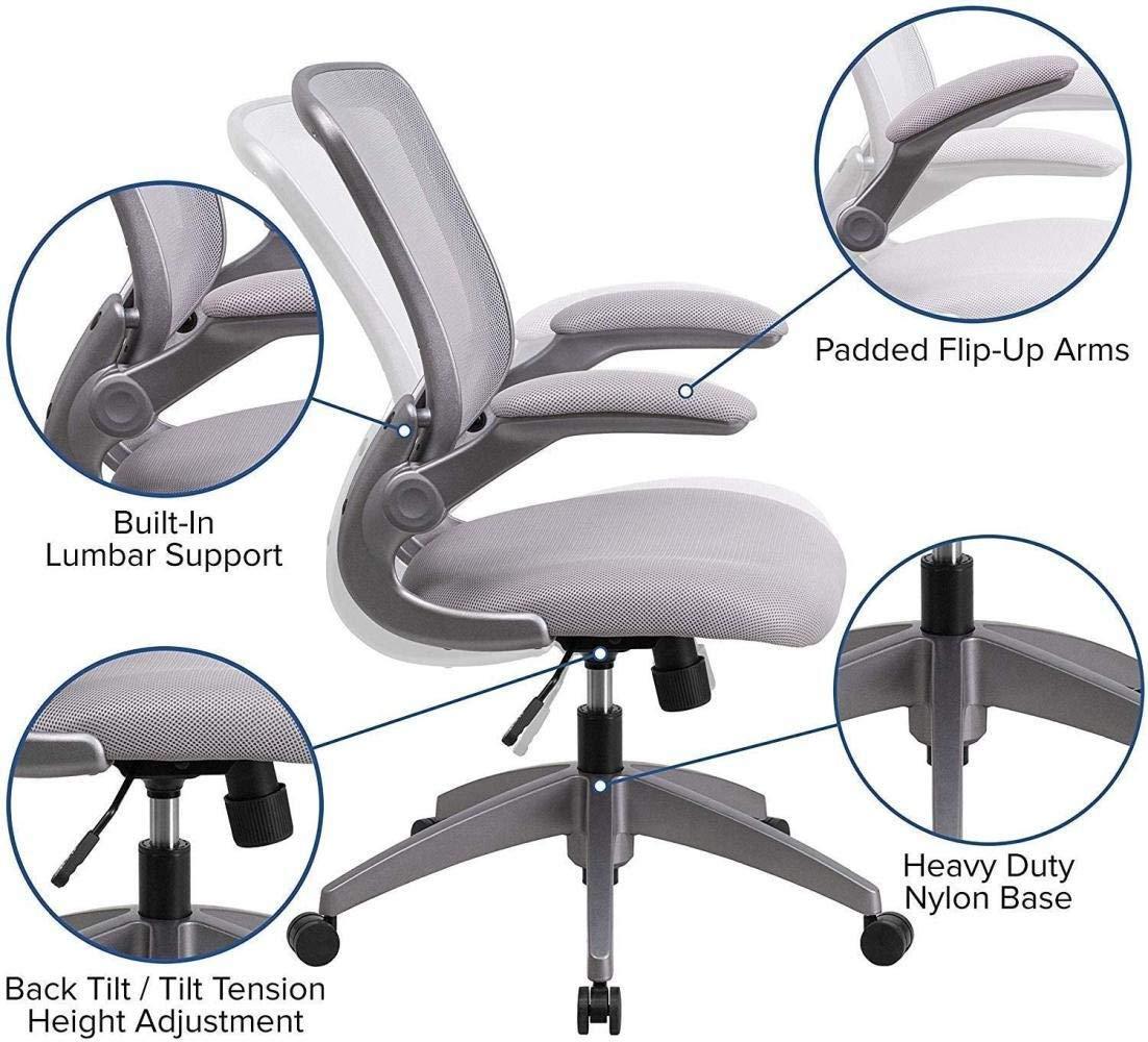 Hemlyft datorstol mitten av ryggen grå nät vridbar uppgift stol ram flip-up armar fåtölj (färg: Röd) Orange