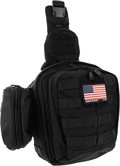 5.11 Rush Moab 6 Tactical Sling Pack Med First Aid Patriot Bundle - Negro: Amazon.es: Deportes y aire libre