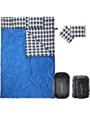 HORING Saco de Dormir Doble de Franela de algodón, Impermeable, con 2 Almohadas y