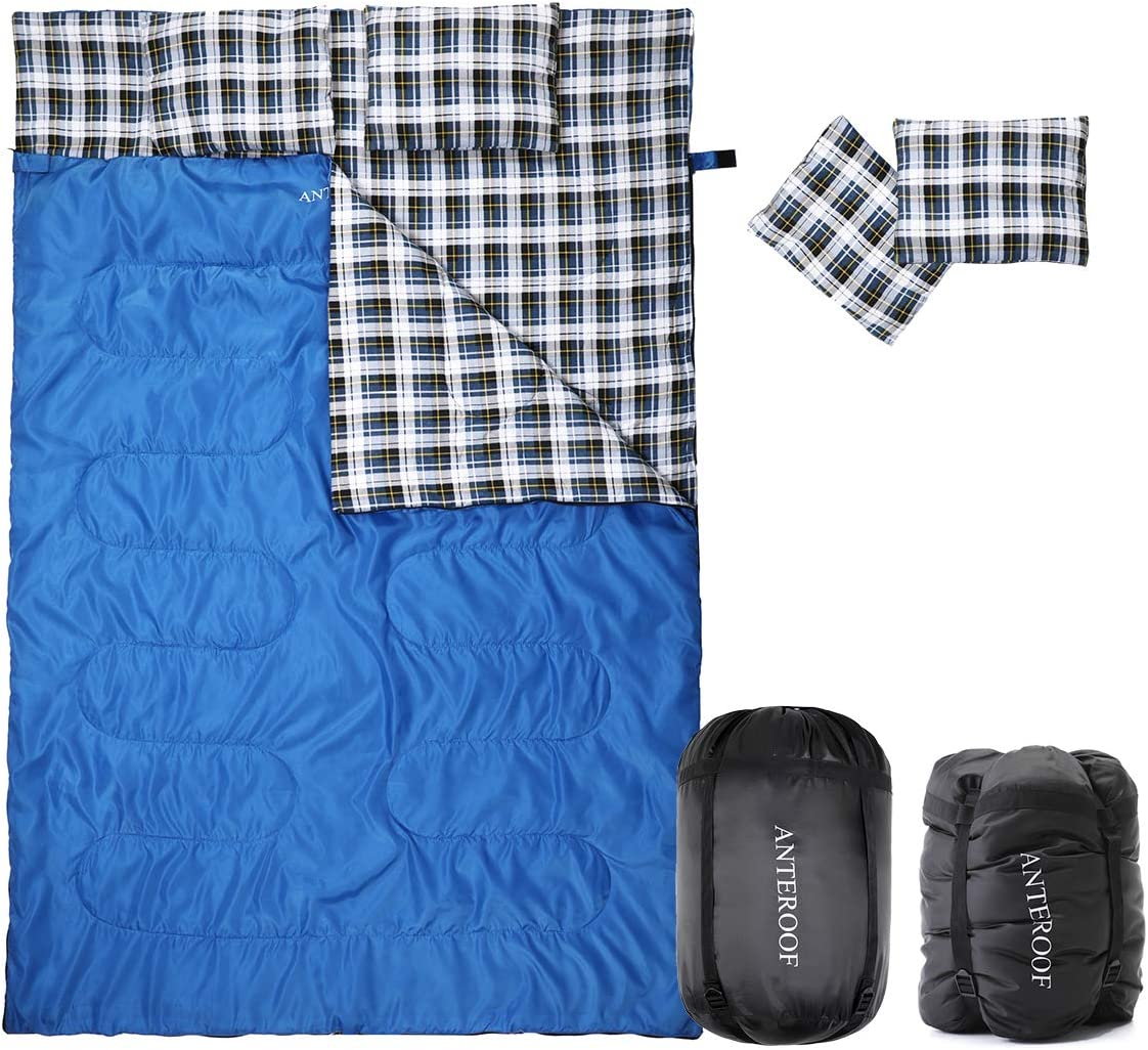 Double Sleeping Bag Cotton Flannel, Waterproof Outdoor Backing Sleeping Bag with 2 Pillow and Compression Bag, Camping Envelope Sleeping Bag for Adults Kids – Camping Gear Equipment, Traveling