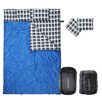 HORING Saco de Dormir Doble de Franela de algodón, Impermeable, con 2 Almohadas y Bolsa de compresión, Bolsa de Dormir para Adultos y niños: Amazon.es: ...