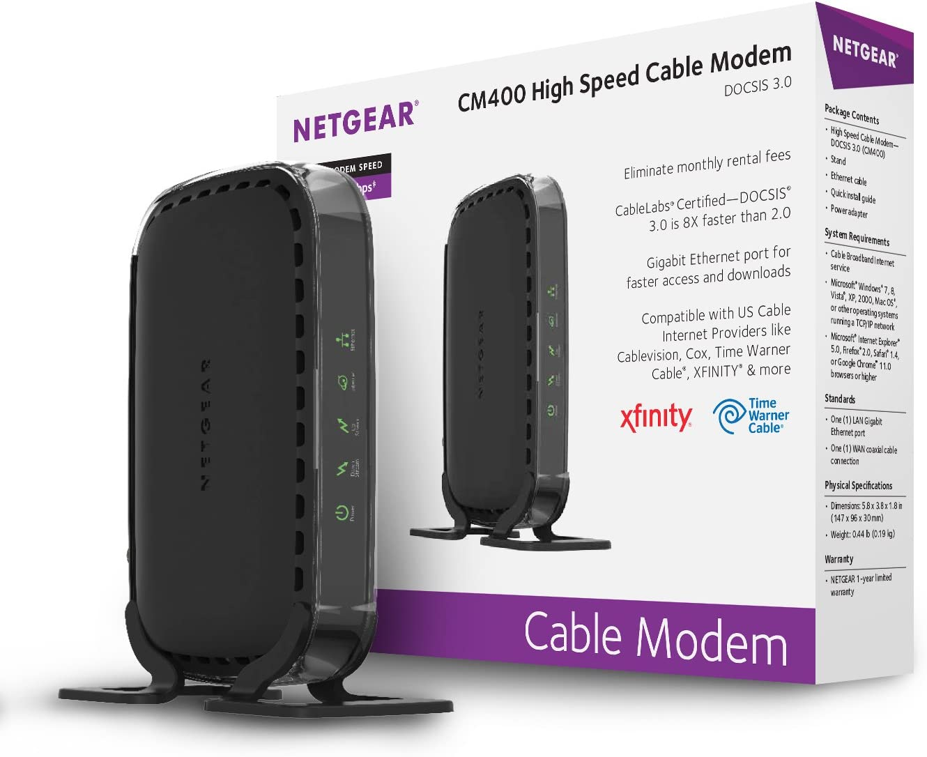 NETGEAR Cable Modem CM400 Compatible with Cable Providers Xfinity by Comcast, Spectrum, Cox   For Cable Plans Up to 100 Mbps   DOCSIS3.0