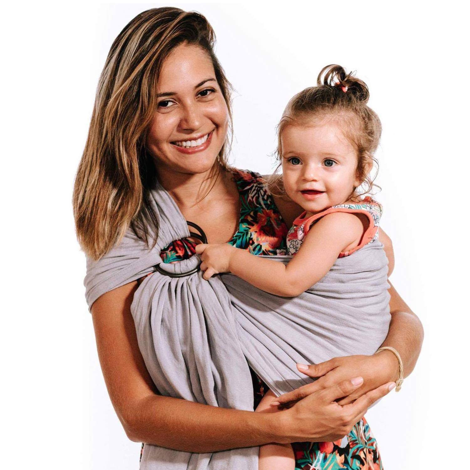 Nalakai Luxury Ring Sling Baby Carrier – Extra-Soft Bamboo and Linen Fabric - Lightweight wrap - for Newborns, Infants and Toddlers - Perfect Baby Shower Gift - Nursing Cover (Lilac Cloud)