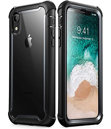 finest selection 3e2a2 cf270 i-Blason Ares Full-Body Rugged Clear Bumper Case for iPhone XR 2018  Release, Black, 6.1