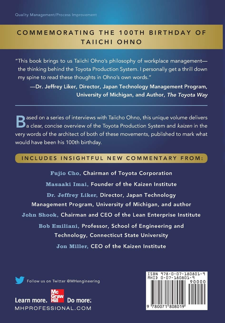 Taiichi Ohnos Workplace Management Special 100th Birthday Edition